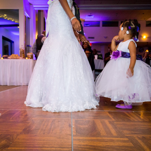 Beautiful Flower girl and Bride on the Dance Floor