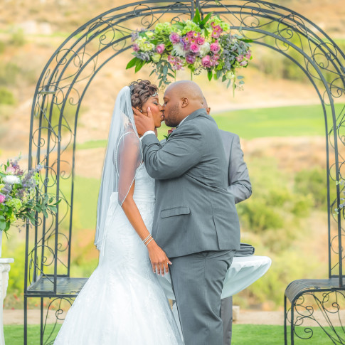 Amazing Wedding Kiss of a Black Couple in Corona California