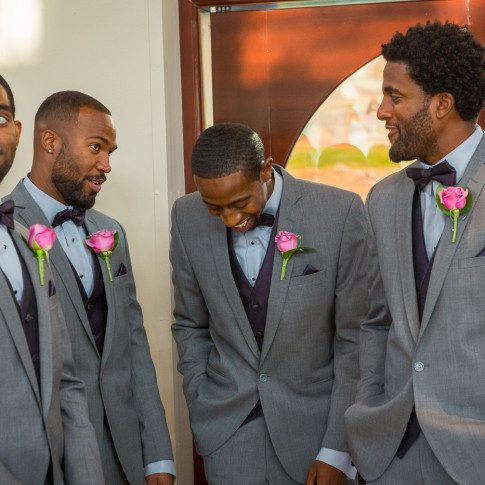 Groomsmen waiting for ceremony at Hidden Valley Golf Course in Corona, CA.