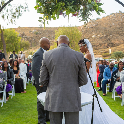 Beautiful outdoor wedding ceremony Hidden Valley Golf Course in Corona, CA.