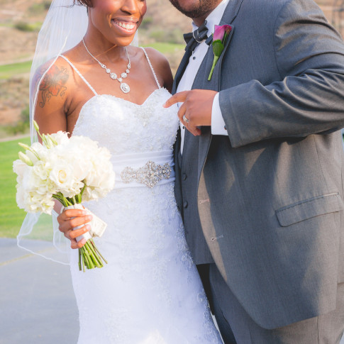 Happy black couple after wedding ceremony in Hidden Valley Golf Course, Corona, CA.
