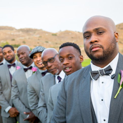 Black groom with groomsmen at Hidden Valley Golf Course