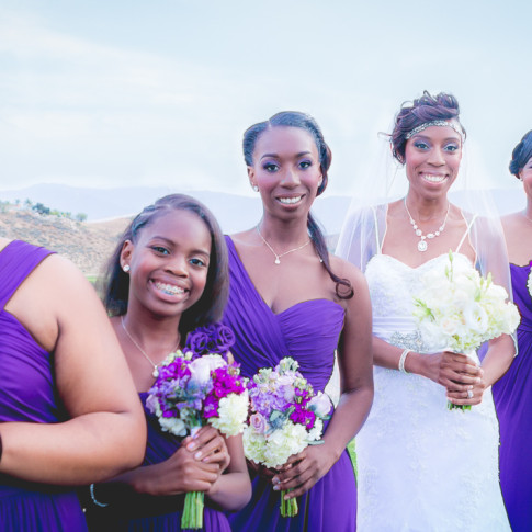 Beautiful happy bride with bridesmaids at outdoor wedding at Hidden Valley Golf Course, Corona, CA.