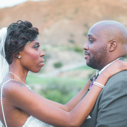 Gorgeous black couple outdoor wedding ceremony at Hidden Valley Golf Course, Corona, CA.