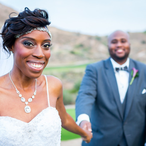 Blushing black bride with her groom Hidden Valley Golf Course, Corona, CA.