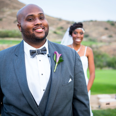 Happy groom after outdoor wedding ceremony Hidden Valley Golf Course, Corona, CA.