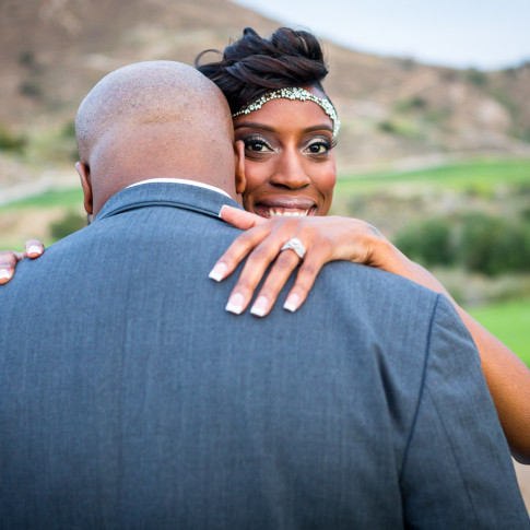 Happy beautiful black bride after outdoor wedding ceremony Hidden Valley Golf Course, Corona, CA.