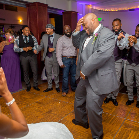 Groom giving a lap dance before going for the Garter