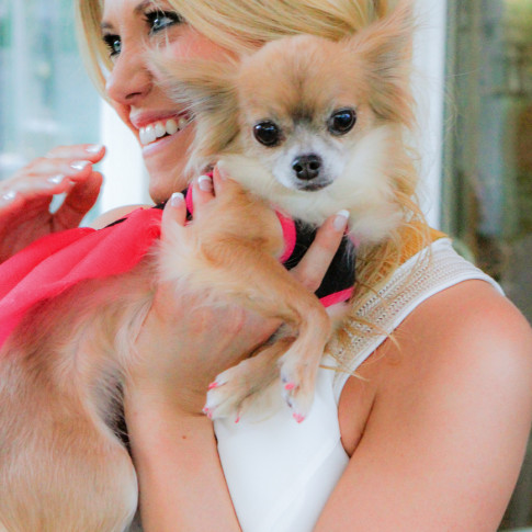 Bride to be with dog at dove canyon engagement party