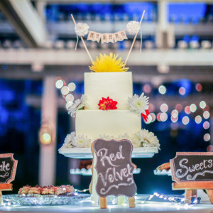 Beautiful engagement party cake and dessert table