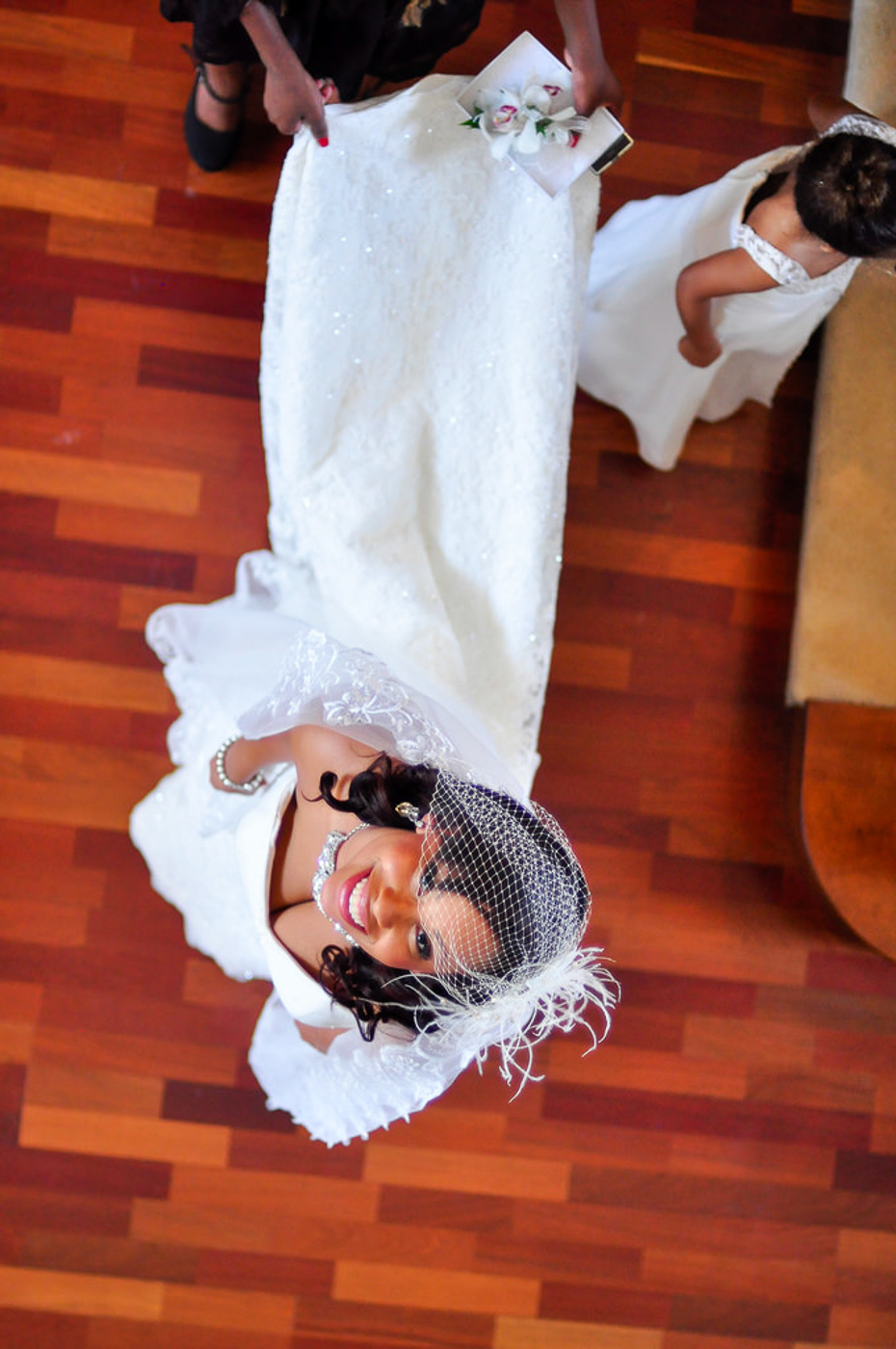 Beautiful bride looking up for photo before wedding ceremony