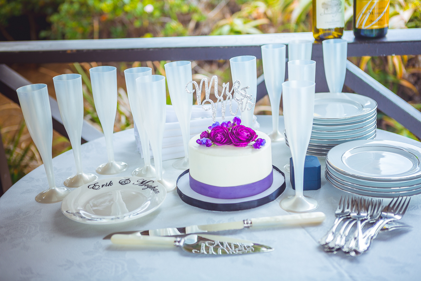 Purple and creme wedding cake at laguna beach gazebo wedding