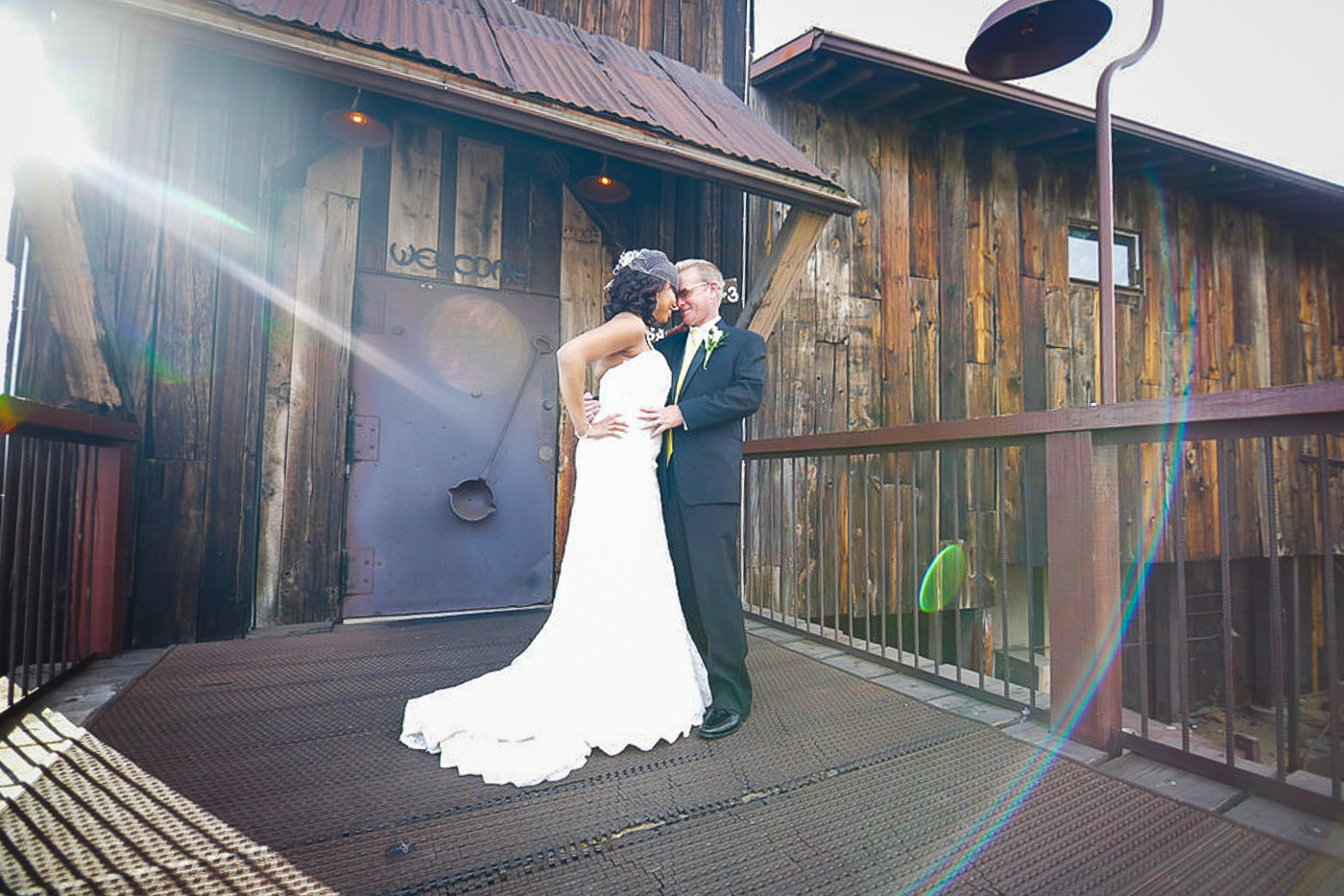 Bride and groom at sunset after wedding ceremony at orange county mining co