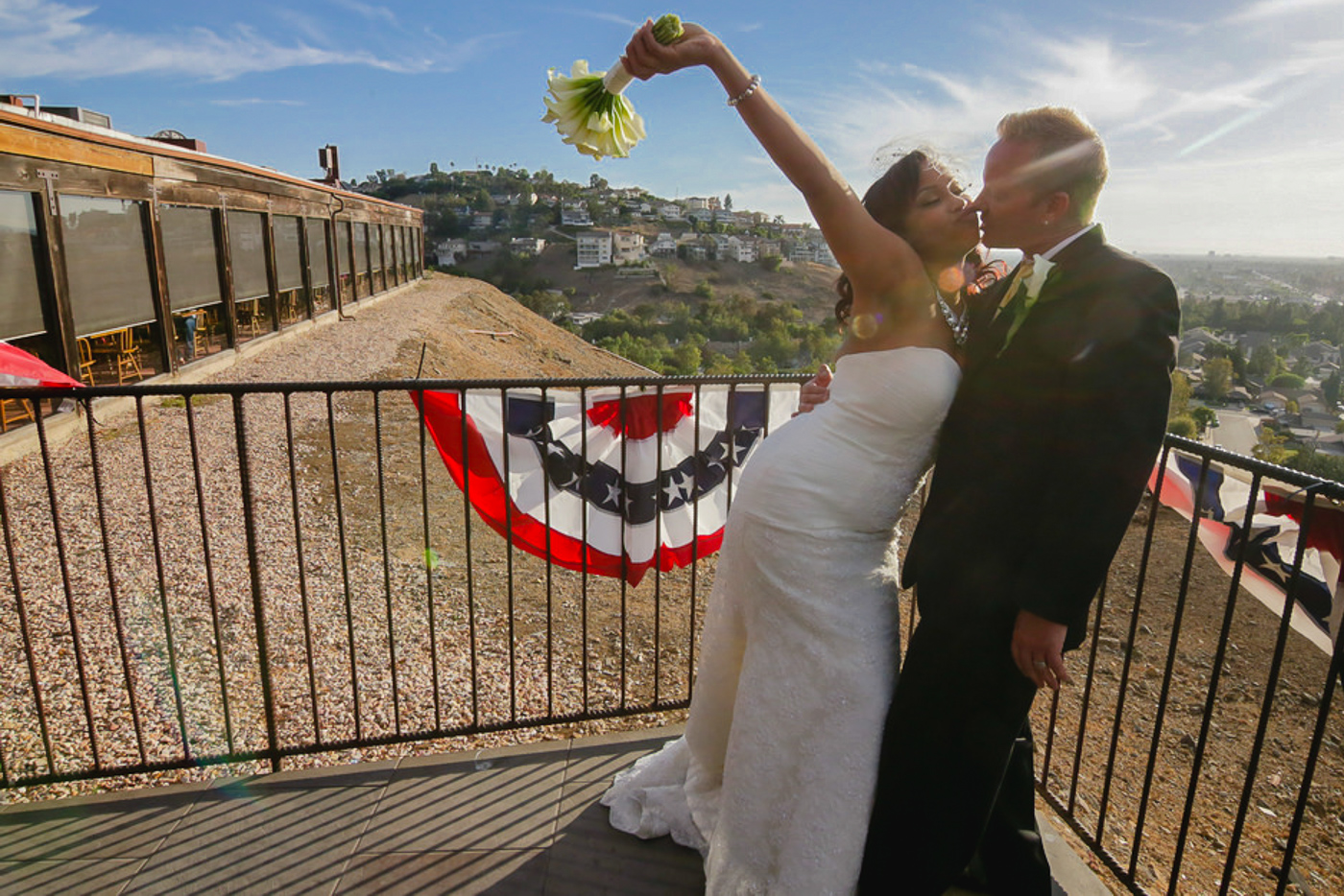 Bride and groom after wedding ceremony at the orange county mining co.