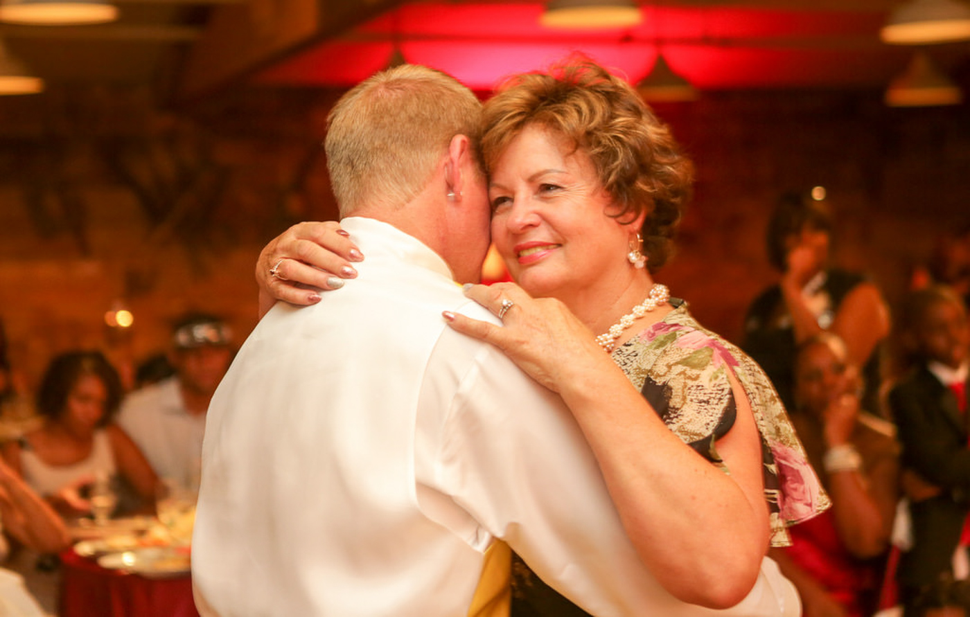 Mother son dance at wedding reception at orange county mining co