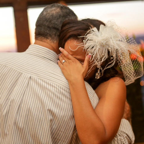 Emotional bride crying during father daughter dance at orange county mining co