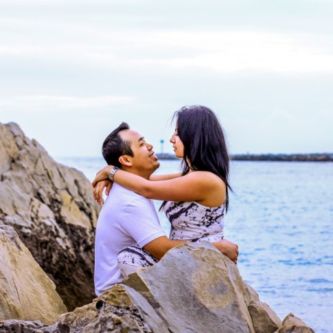 Stunning engagement photo at Corona Del Mar in Newport Beach