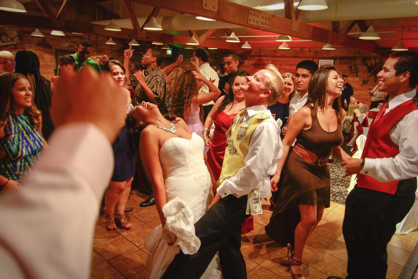 Bride and groom dancing at wedding reception at orange county mining co
