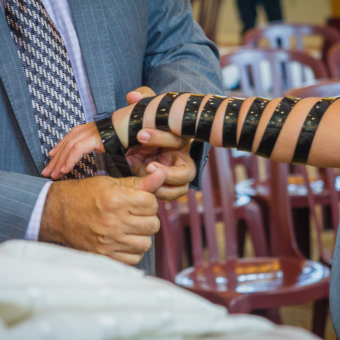 Tefillin at bar mitzvah ceremony orange county