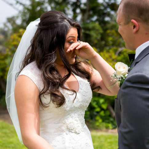 Bride crying during first look. Finally Forever Photography