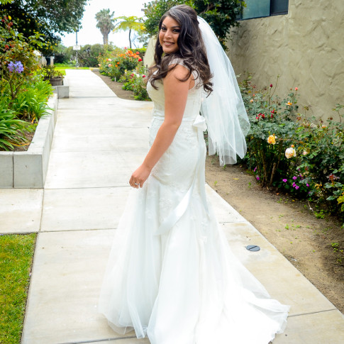 Beautiful bride before first look at Pierpont Inn in Ventura, CA. Finally Forever Photography