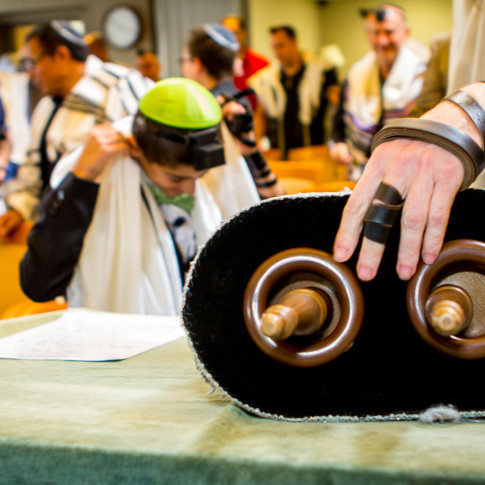 The torah reading at bar mitzvah ceremony