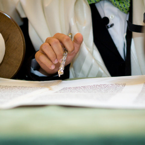 Reading of the torah during bar mitzvah ceremony in orange county